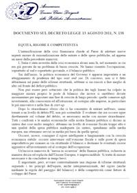 Documento Agdp sulla Manovra di Agosto 2011