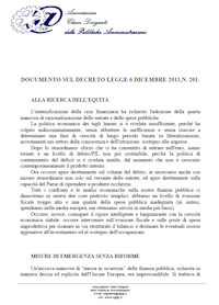 Documento su Manovra del 6 Dicembre 2011