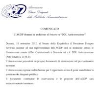 Comunicato del 17 Settembre 2012
